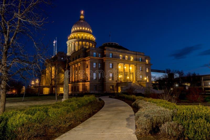 Bella vista della capitale dell'Idaho alla notte fotografia stock