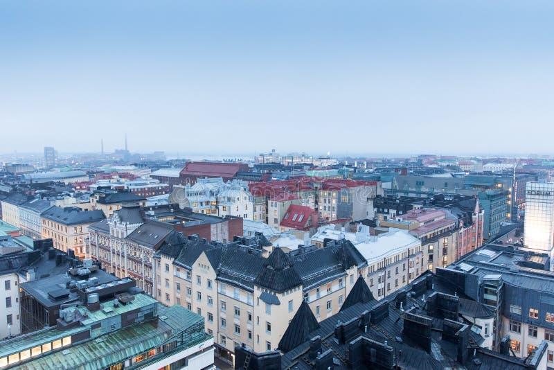 Bella vista della città di Helsinki, Finlandia nell'inverno immagine stock
