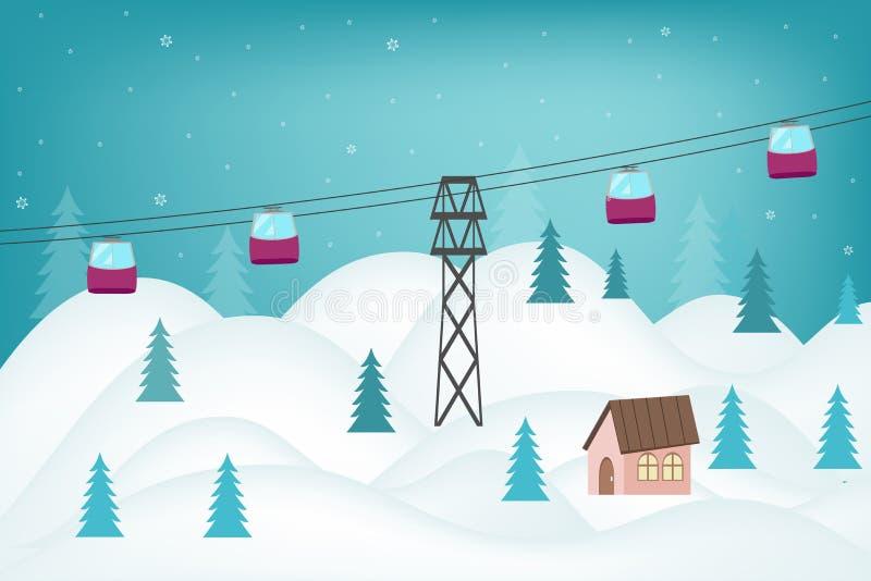 Bella vista della collina nevosa delle montagne nella località di soggiorno nel wint royalty illustrazione gratis
