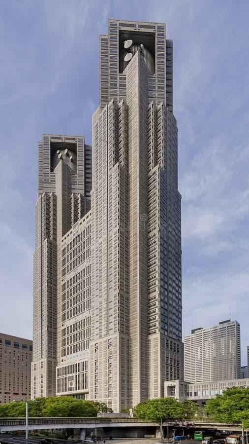 Bella vista della costruzione metropolitana di governo di Tokyo, Nishi-Shinjuku, Giappone fotografie stock libere da diritti