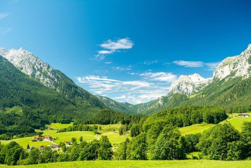 Bella vista della natura e delle montagne vicino al lago Konigssee, Baviera, Germania immagini stock libere da diritti