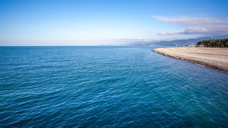 Bella vista della spiaggia di Batumi, Georgia immagini stock libere da diritti