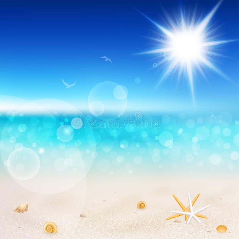 Bella vista della spiaggia il giorno pieno di sole illustrazione di stock