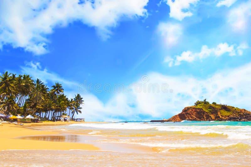 Bella vista della spiaggia tropicale di Mirissa sullo Sri Lanka fotografia stock libera da diritti