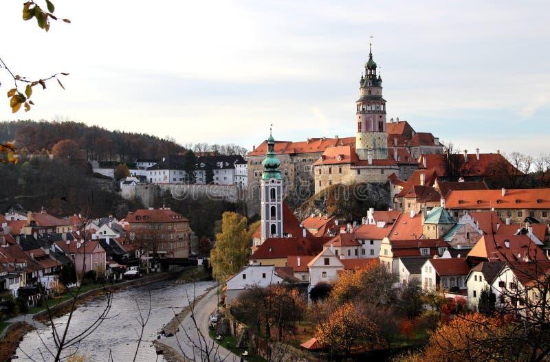 Bella vista di Cesky Krumlov, repubblica Ceca immagini stock libere da diritti