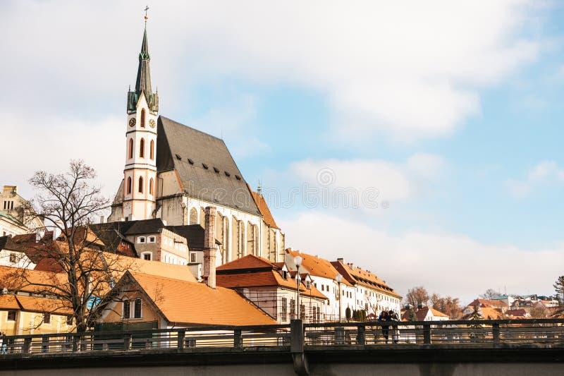 Bella vista di Cesky Krumlov, repubblica Ceca europa fotografia stock libera da diritti