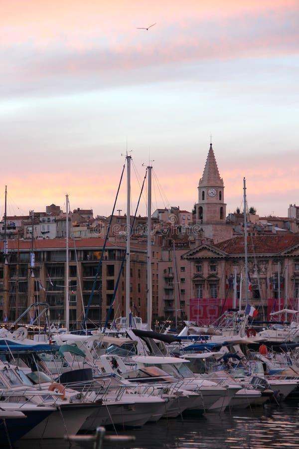 Bella vista di Marsiglia nella notte fotografie stock libere da diritti