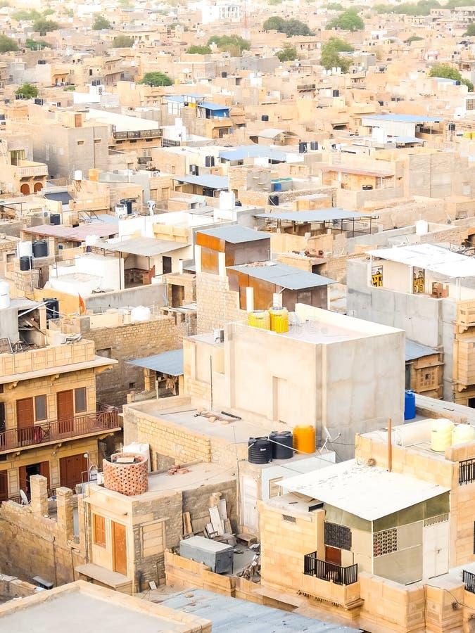 Bella vista di paesaggio urbano di Jaisalmer fotografia stock libera da diritti