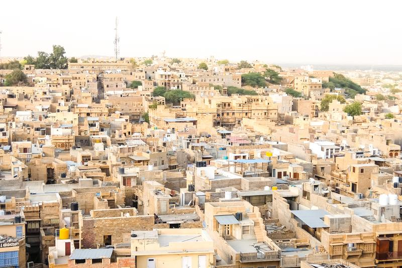 Bella vista di paesaggio urbano di Jaisalmer fotografie stock libere da diritti