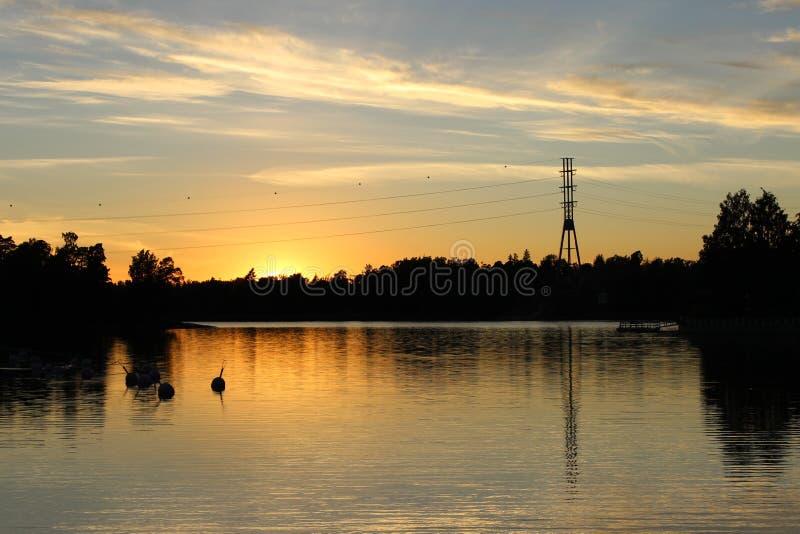 Bella vista di tramonto di Humallahti in Töölö, Helsinki, Finla immagine stock
