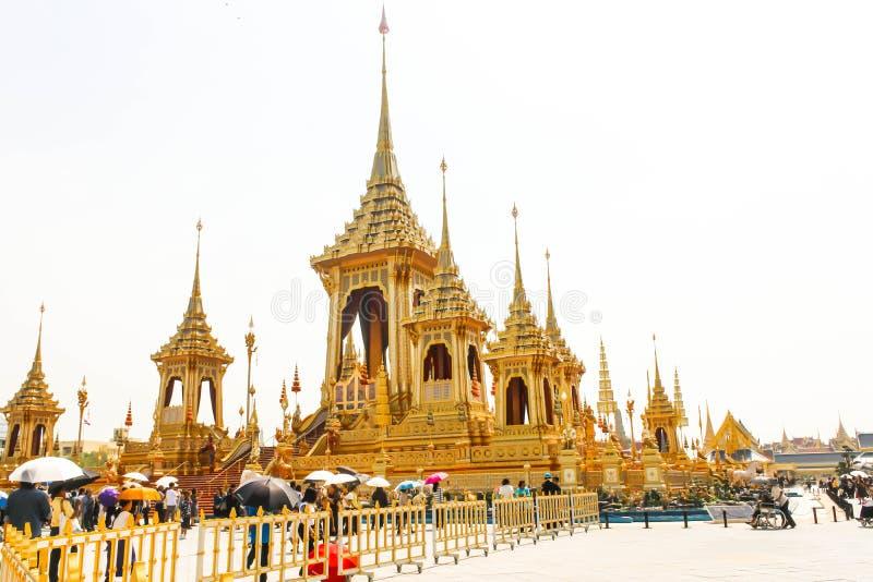 Bella vista il crematorio reale per il HM il re recente Bhumibol Adulyadej al 4 novembre 2017 immagini stock libere da diritti