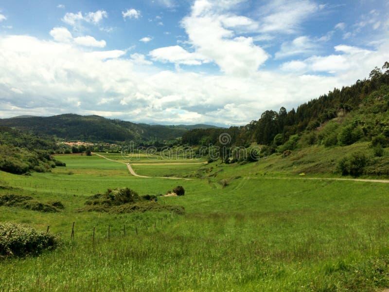 Bella vista sopra la campagna verde lungo il camino del norte in spagna fotografia stock