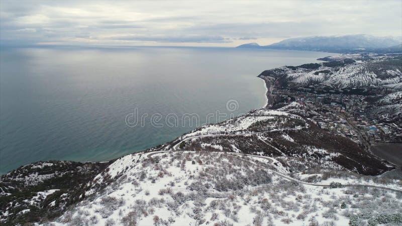 Bella vista sul mare di inverno con i campi nevosi, la foresta ed il mare blu sul fondo del cielo grigio e nuvoloso colpo Antenna fotografia stock libera da diritti
