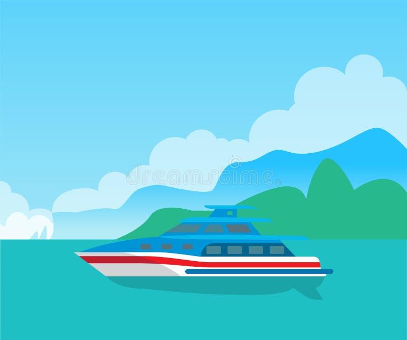 Bella vista sul mare e yacht sveglio, manifesto di colore illustrazione di stock