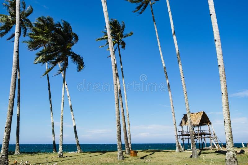 Bella vista tropicale del mare al di sotto del giorno soleggiato luminoso, spiaggia sabbiosa, fotografia stock