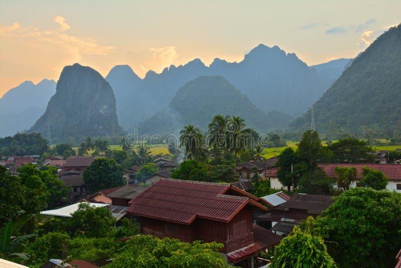 Bella vista Vang Vieng Laos fotografia stock