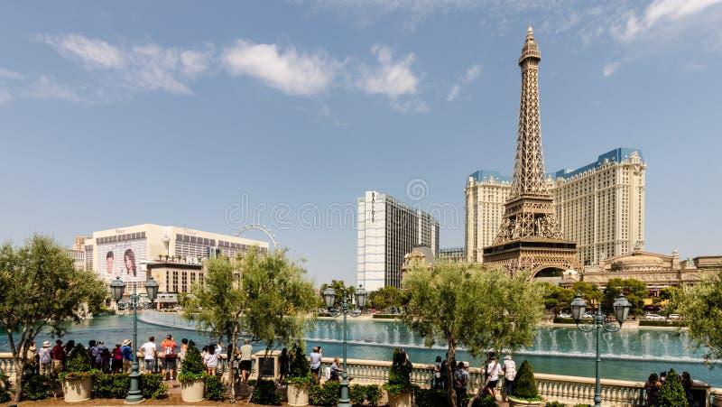 Bellagio Fonteinen en Parijs Las Vegas royalty-vrije stock afbeelding