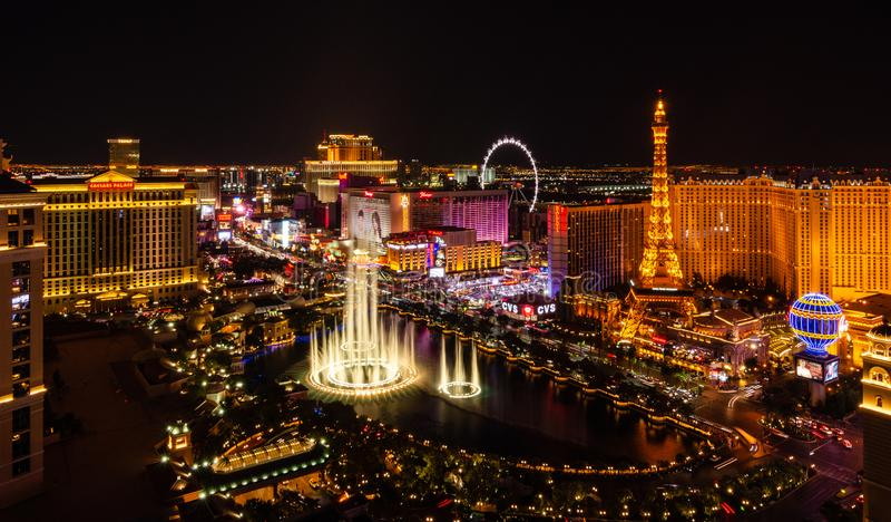 Bellagio Fountains on the Las Vegas Boulevard stock photography