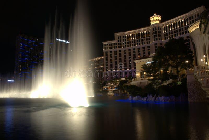 Bellagio fountans water las vegas night nevada. Las Vegas casino Bellagio at night royalty free stock photos