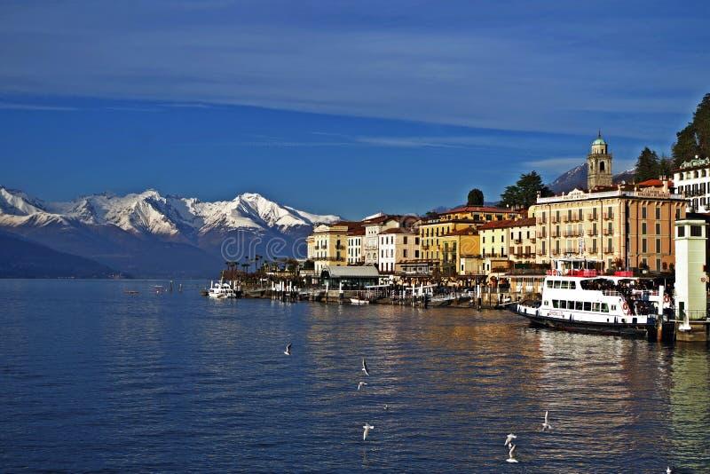 Bellagio. Panorama of Bellagio, on Como Lake, with snow-capped mountains royalty free stock photos