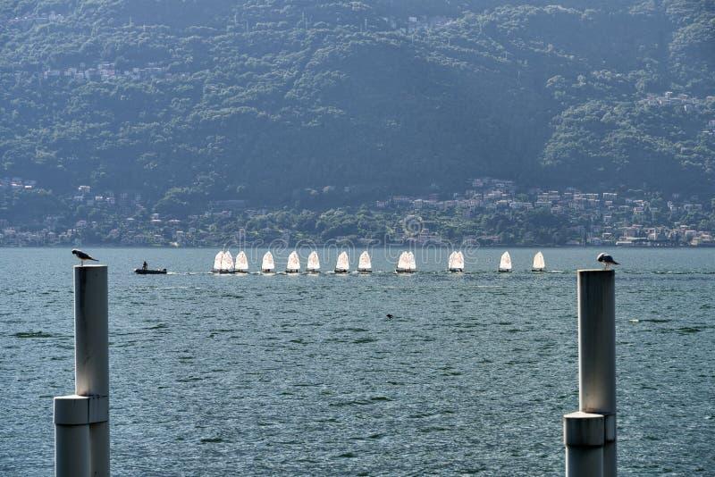 Bellano e o lago Como fotografia de stock