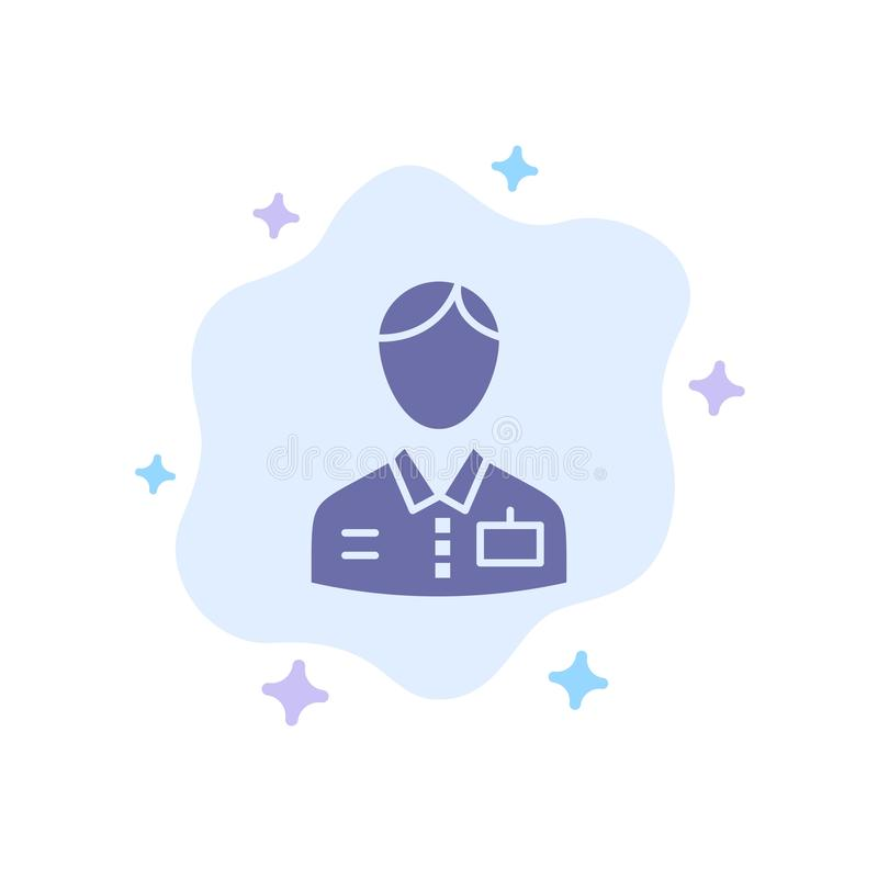 Bellboy、Bellhop、Doorman、Hotel、Service Blue Icon on Abstract Cloud Background(抽象云背景上的蓝色图标) 皇族释放例证