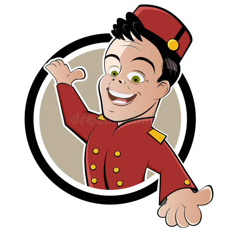 bellboy bellhop guzik ilustracja wektor