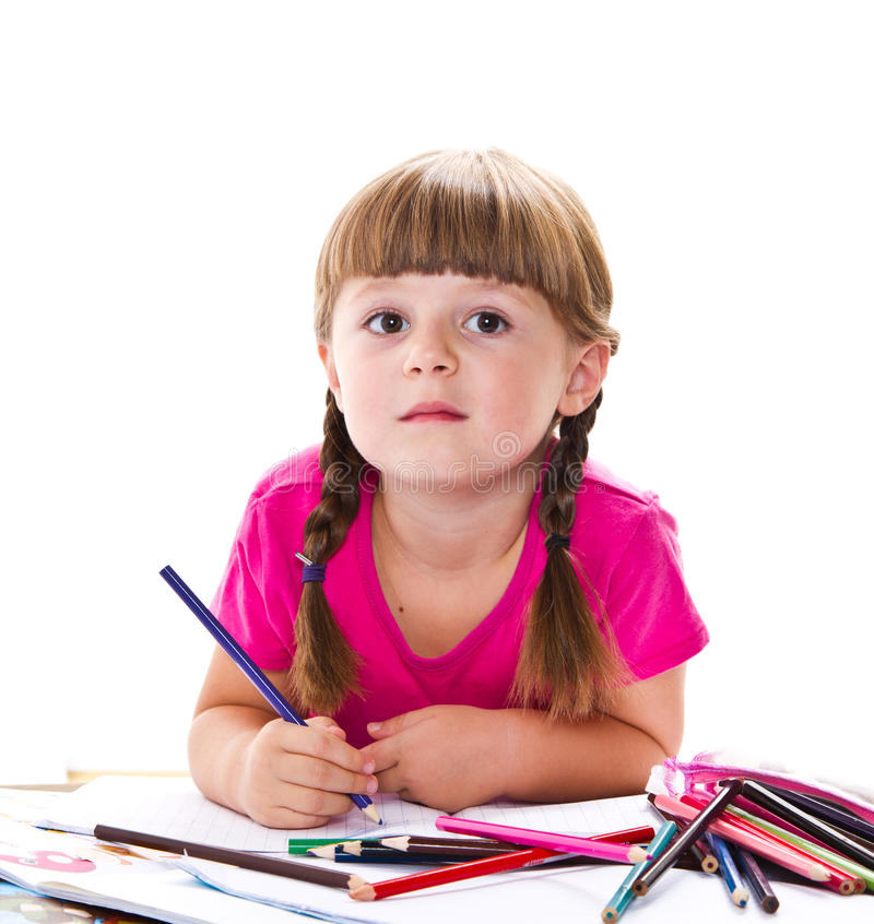 Belle écriture de petite fille au bureau photo libre de droits