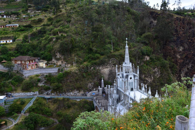 Belle église gothical de Las Lajas, dans Ipiales, la Colombie photos libres de droits