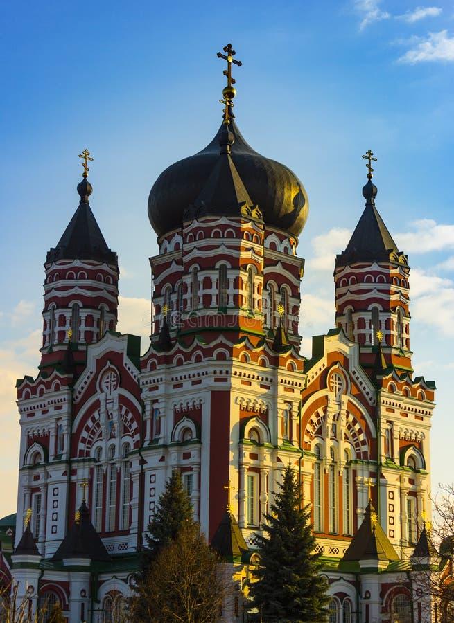 Belle église orthodoxe, St Panteleimon Cathedral, région de cathédrale le parc de Feofaniya image stock