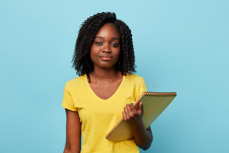 Belle étudiante Afro intelligente regardant la caméra images stock
