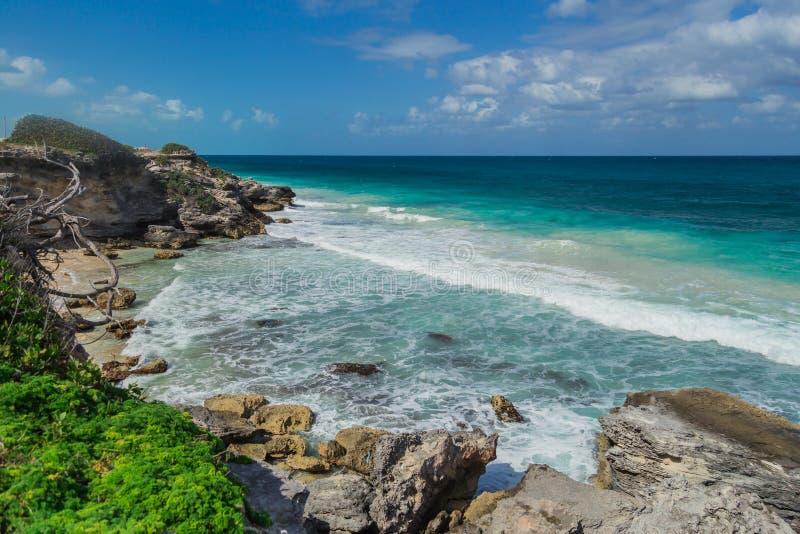 Belle île, plage d'Isla Mujeres, Mexique photos libres de droits