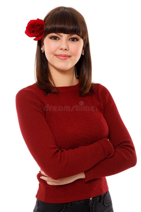 Belle adolescente sur le blanc photos stock