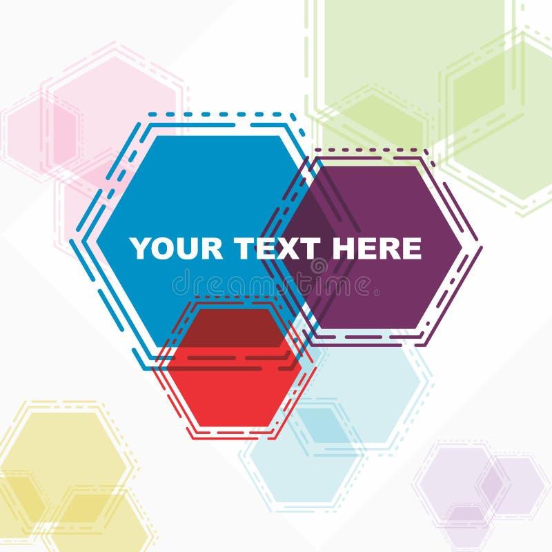 Belle affiche de carte de voeux dans l'hexagone abstrait coloré illustration stock