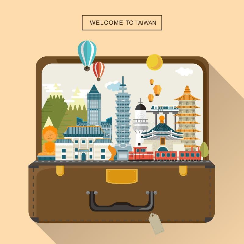 Belle affiche de voyage de Taïwan illustration stock