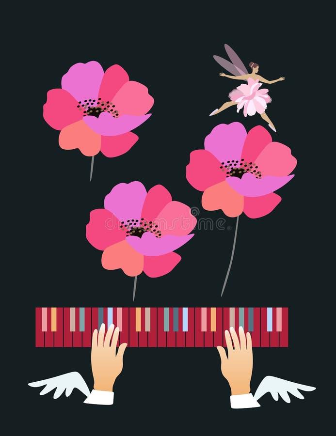 Belle affiche musicale avec les mains à ailes flottant au-dessus des clés colorées de piano, des fleurs roses de pavot et de la b illustration de vecteur