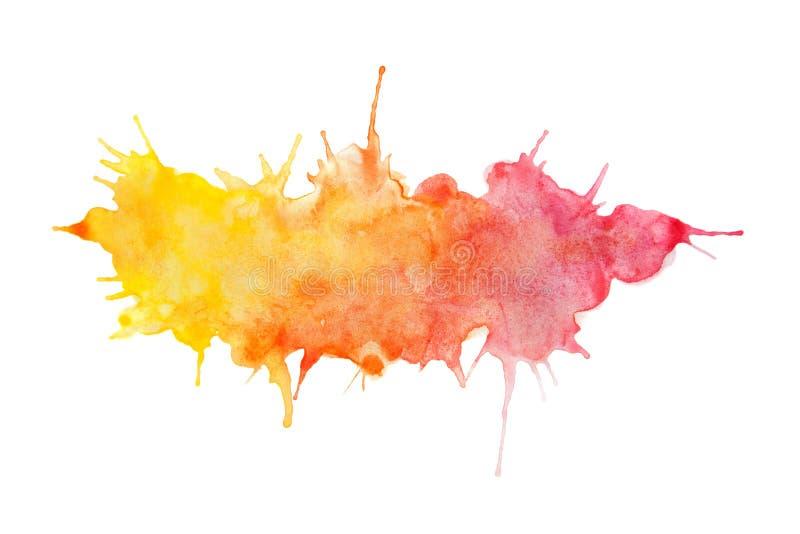 Belle aquarelle abstraite jaune/orange/rose a peint le fond illustration stock