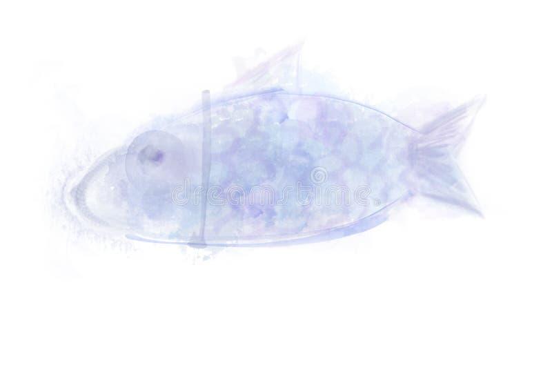 Belle aquarelle d'aquarel d'abrégé sur poissons Illustration dessiné illustration de vecteur