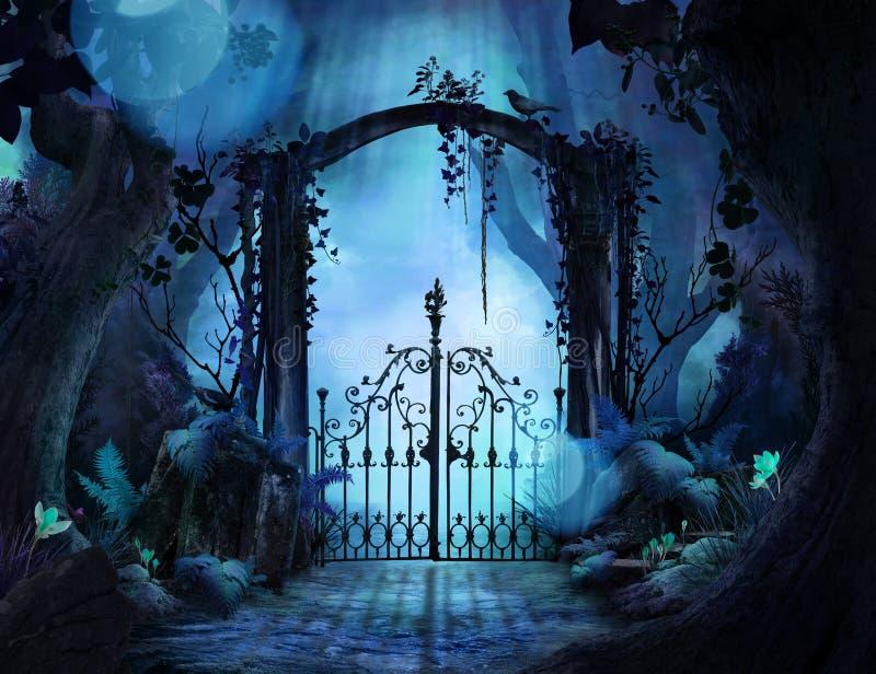 Belle arcade rêveuse de paysage dans un jardin enchanté illustration stock