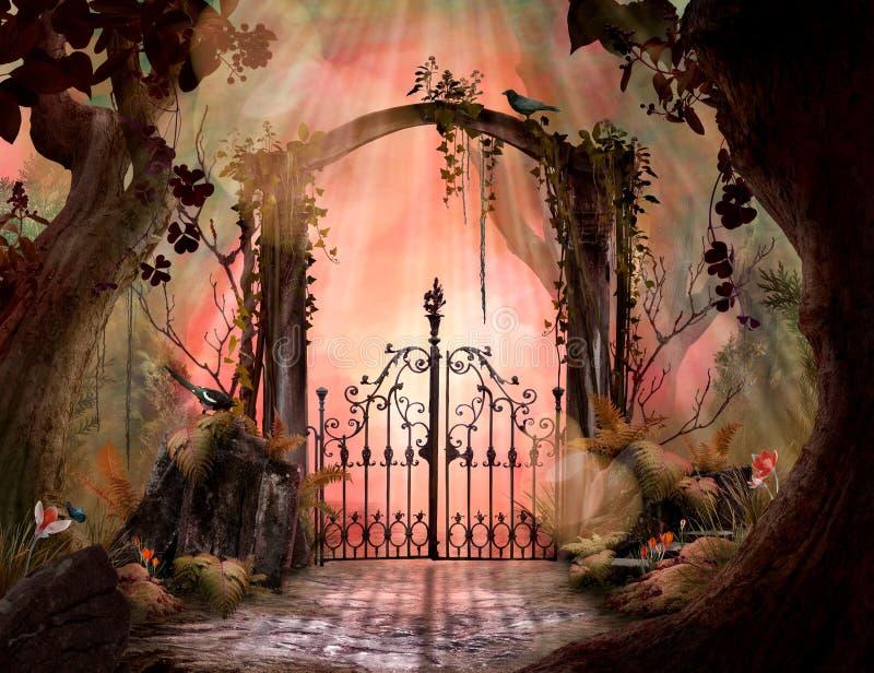 Belle arcade rêveuse de paysage dans un jardin enchanté illustration libre de droits