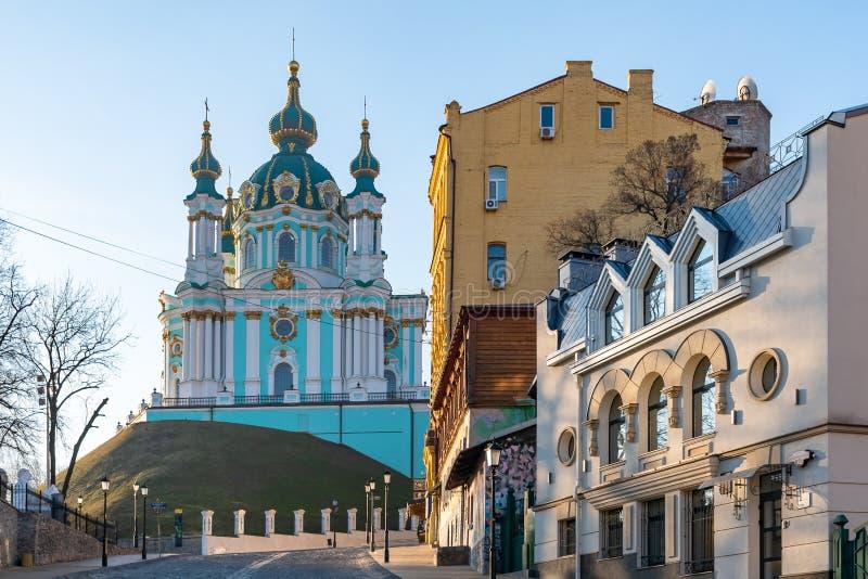Belle architecture de l'?glise du St Andrew, Kiev, Ukraine photos libres de droits
