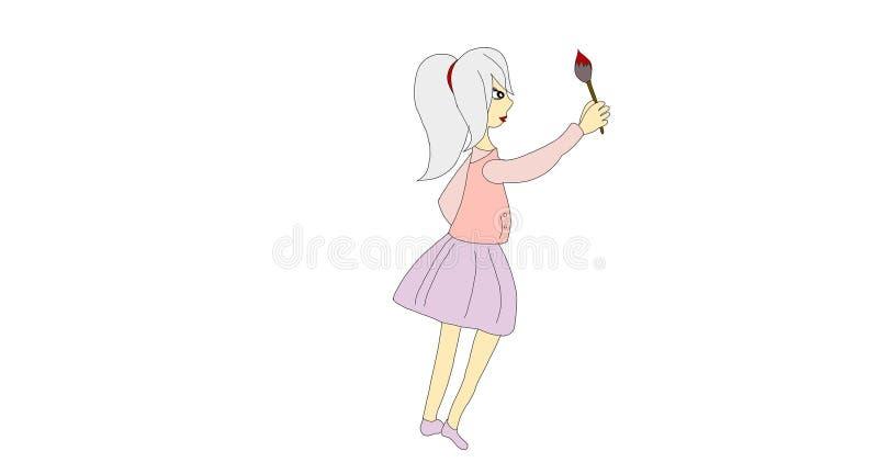 Belle aspiration de fille avec la brosse illustration stock