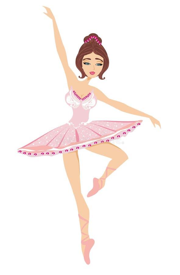 Belle ballerine de danse d'isolement sur le Ba blanc illustration libre de droits