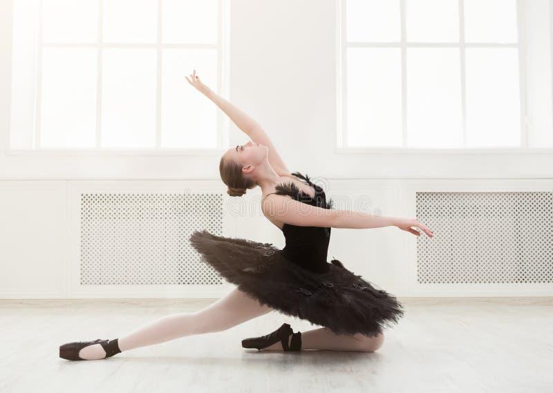 Belle ballerine gracieuse dans la robe de cygne noir image stock