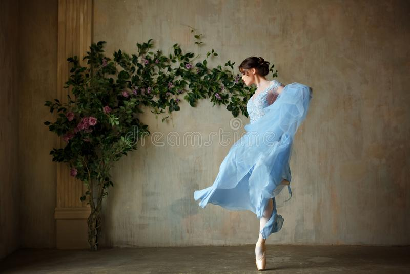 Belle ballerine gracieuse de fille dans la danse bleue de robe au point image stock