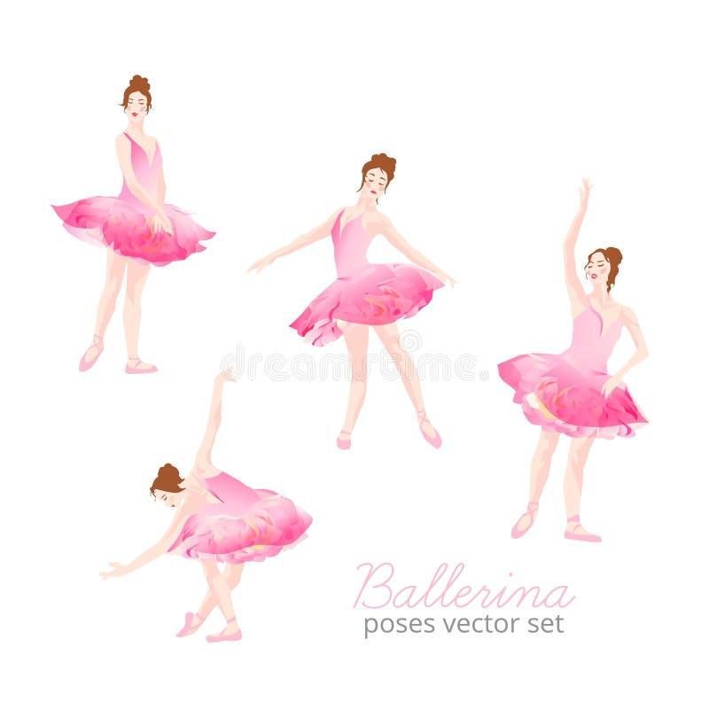 Belle ballerine portant l'ensemble rose de vecteur de conception de tutu de Tulle illustration de vecteur