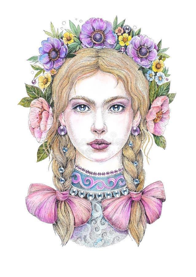 Belle blonde avec des tresses, des arcs et une guirlande illustration de vecteur