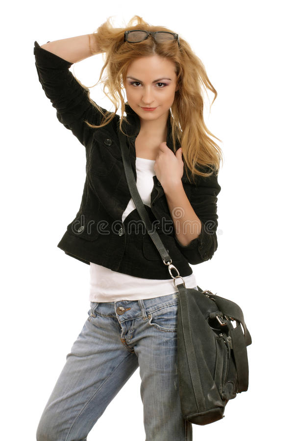 Belle blonde dans la tenue de détente image libre de droits