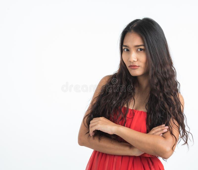 Belle bouche de bâche de femme par ses mains photos libres de droits
