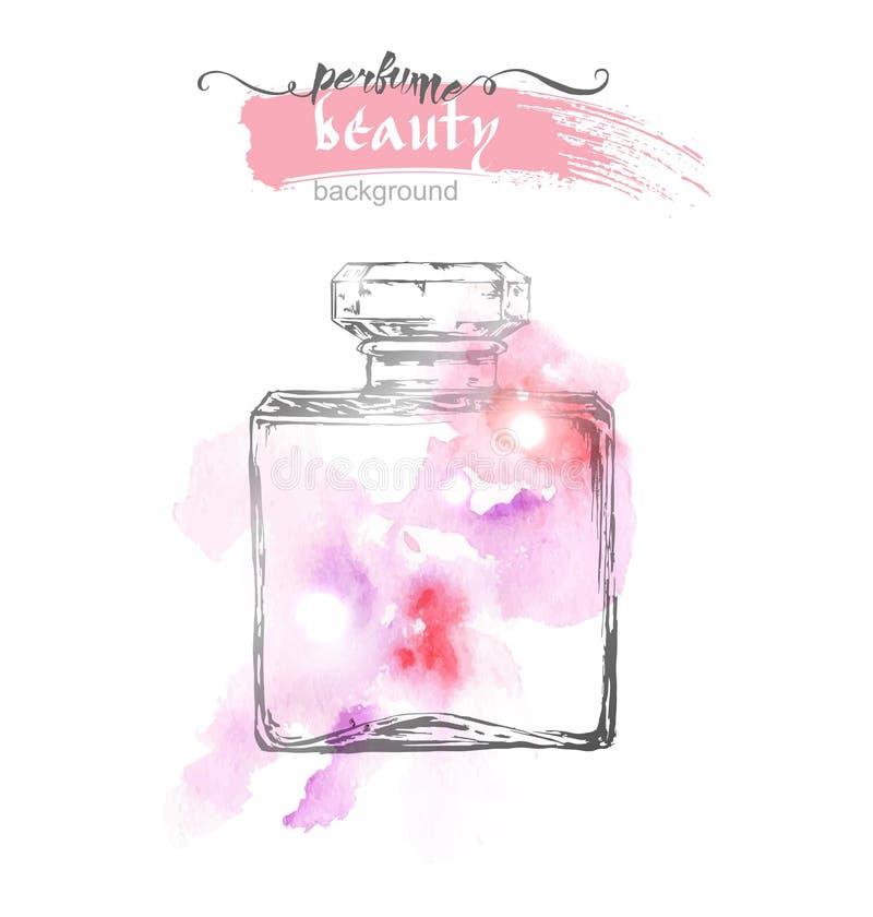 Belle bouteille de parfum, sur le fond d'aquarelle Fond beau et de mode Vecteur illustration stock
